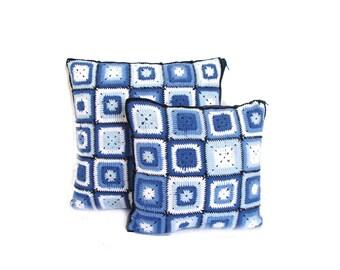 Crochet Denim Cushion Pillow Cover set, granny throw pillows, decorative pillows set, navy blue crocheted pillows, blue and white cushions