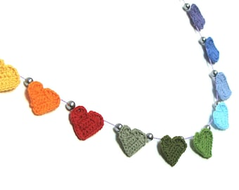 3 Crochet hearts garland, wedding bunting hearts , rainbow hearts garland, hearts bunting, colorful hearts garland, nursery bunting, banner