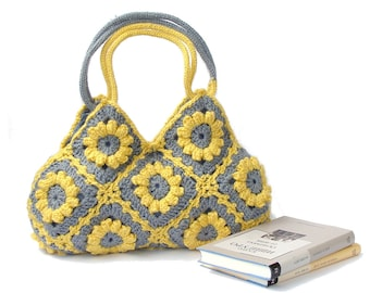 Lemon zest crochet handbag, flowers bag, shoulder bag, meduim crochet purse