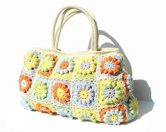 Flowers summer bag, crochet handbag, crochet bag in bright summer colors with flowers