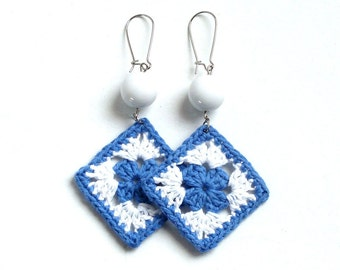 Blue crochet earrings, crochet jewelry, granny square earrings