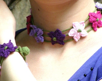Flower crochet chocker and bracelet set in lilac plum and pink with soft green decoration