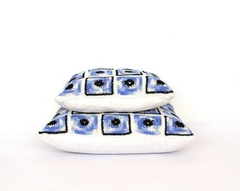 Blue and white crochet pillowcases set 12 and 15 inches, granny squares throw pillows set, nautical decorative cushions
