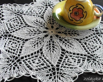 "Hand Knitted Cotton Doily ""Little star"" Free Shipping"