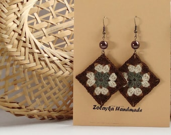 Brown olive green cream beige crochet square earrings - crochet accessories