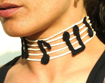 Staff choker necklace and bracelet set, fiber music notes jewelry set,  textile jewelry
