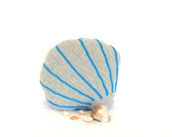 Sea shell decorative pillow, aqua blue and gray decor, sofa pillow, crochet sea shell cushion, stuffed