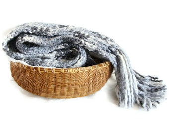 Men scarf knit wool and acrylic - extra long in blue gray melange with fringes