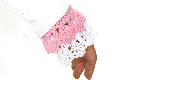 Lacy wrist cuffs crochet pink and white, cotton, rustic, fingerless gloves, spring summer