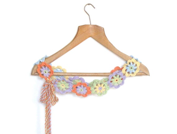Flower crochet  pale colors belt - all sizes