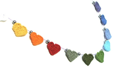 3 Crochet hearts garland, wedding bunting hearts , rainbow hearts garland, hearts bunting, colorful hearts garland, nursery bunting, banner
