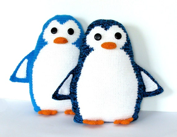 "Cute crochet  toy pillows set  ""Penguin Pals"" - crochet cushions, pillows - Stuffed"