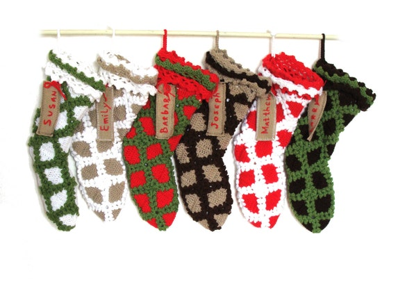 6 Personalized Christmas Stocking Crochet, Choose your color combo