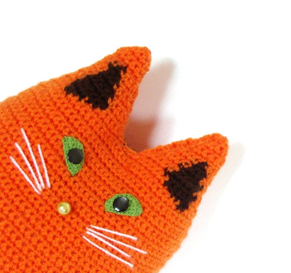 Cute orange cat toy pillow, crochet cat cushion, stuffed cat pillow, orange pet pillow, animal cat pillow, stuffy cat toy, pet pillow