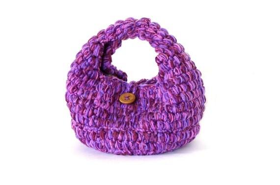 Purple melange crochet purse, purple handbag, lilac, basket crochet boho bag