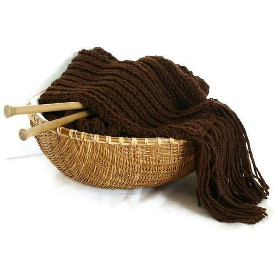 Chocolate brown fringes wool scarf, hand knit merino wool