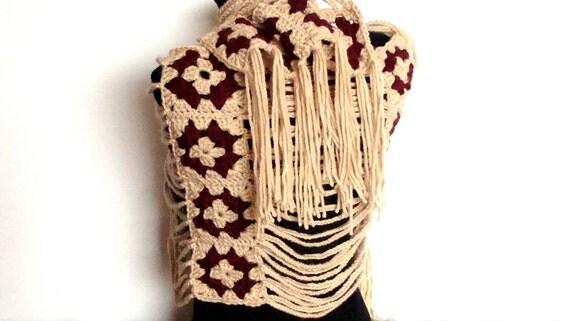 Crochet shawl original design - merino cream beige with claret decoration, with fringes
