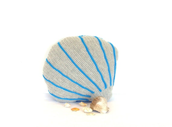 Sea shell decorative pillow, aqua blue and gray decor, sofa pillow, crochet sea shell cushion, stuffed