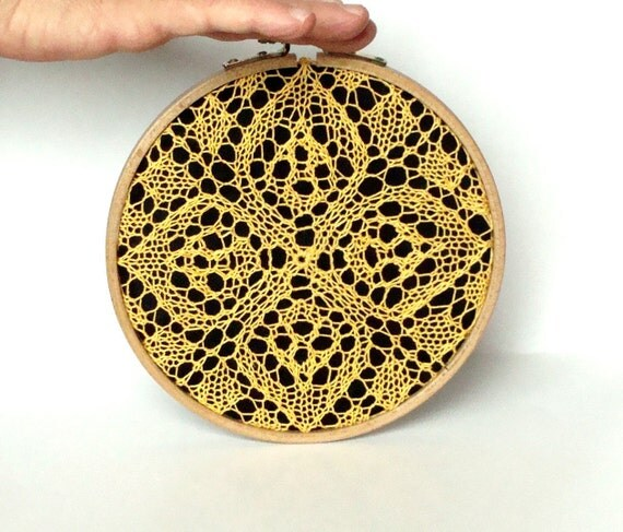 """Embroidery Hoop Art - yellow knitted lace - wall hanging house decoration - 6"""""""