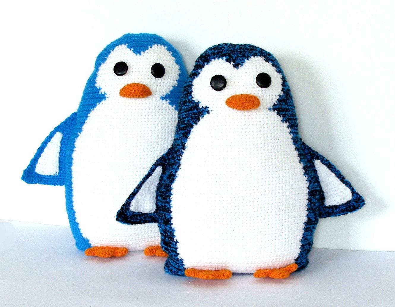 Cute Pillow Sets : Cute crochet toy pillows set Penguin Pals