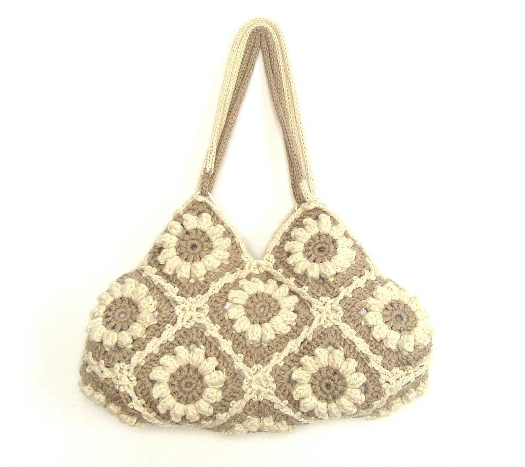 Crochet Purses And Bags : Medium crochet hand bag in cream white and beige with by zolayka