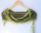 green scarf scarflette,women scarf,for her,fashion trend,cotton fabric,155cm  61.02'' ,soft,bandana,scarflette,by Seno