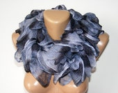 WAS 25 NOW 19  gray scarf ,women scarf,new 2012 trends,fashion accessories for women,gift for her,ruffle scarf,fall fashion,by SENO