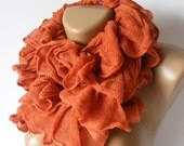 WAS 25 NOW 19  orange women scarf,ruffle scarf,fashion accessories for all seasons,2012 new trends,for her,soft,cotton scarf,by seno