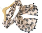 summer fashions,woman scarves,chiffon,beige,soft,nylon-free,handmade gift scarf, 2012 trends,for her,gifts,Traditional,unique