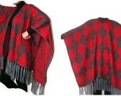 women poncho - cape - shawl ,red - poncho , argyle , shawl trend, fashion accessory ,fall fashion ,spring, winter, for her, tricot fabric