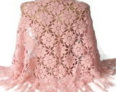 SALE pink shawl,hand crocheted,lace shawl,floral crochet shawl,best yarn,fashion gift for her,2013 winter trend,christmas gifts