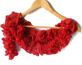 SALE Red ruffled scarf - knit scarf - frilly neckwarmer - gift under 25 for women CHRISTMAS SALE