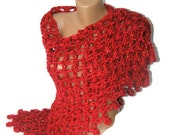 women hand-crocheted shawl, red shawl, super bulky yarn, payette, 2013 crochet trends, Gift For Her, Crochet Shawl - seno