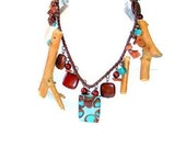art design ,necklace ,beaded necklace,woodwork,natural materials, glass beads, useful, stylish necklace , READY TO SHIP , by Seno