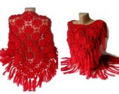 crochet shawl, hand - crocheted shawl, red, shawls with handmade flowers, fashion women accessories