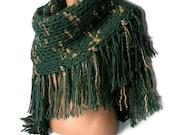 green hand crocheted shawl, women accessory, gift ideas, crochet trends, stole, poncho