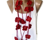 Valentines day,Crochet Red Flower Lariat Scarf,Fashion Flower Scarves,Necklace,crocheted scarves