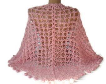 EXPRESS SHIPPING soft pink crochet wrap shawl scarf ,hand crocheted shawl ,gift , stole, triangle,fashion ,winter spring ,mohair wool shawl