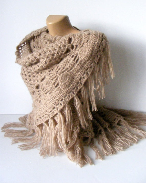 light brown shawl,ecru,crochet trends,soft,warm,winter trend,spring trends,stole,poncho,women shawl,Gift ideas,for her,by seno