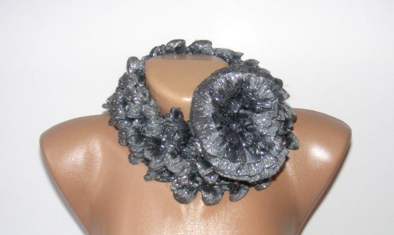 Hand Knitted Lacy women Ruffled Scarf, gray scarf, scarves, gift, woman, spring, fashion scarf, summer SALE