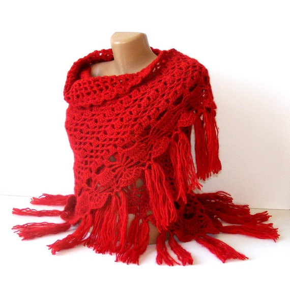 Christmas red women shawl, scarf , Red shawl, red, crochet trends, winter trend, stole, poncho, woman, Gift ideas, for her, gift