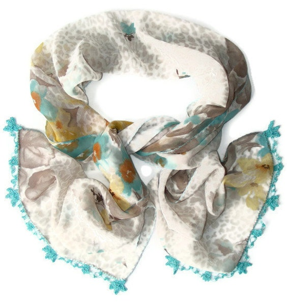 chiffon scarf,fashion scarf,ultra soft,gift ideas,for her,fabric,handmade Oya,lace scarf,woman scarves,unique accessories
