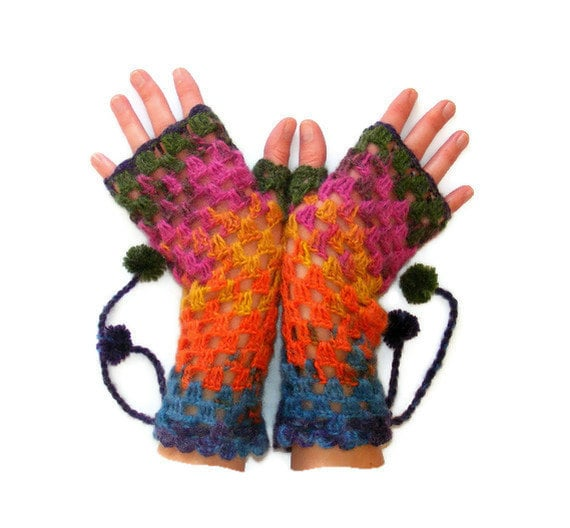Hand-Knitted Fingerless Gloves Winter Accessories Womens Gloves Gifts Accessories christmas stocking /// senoaccessory