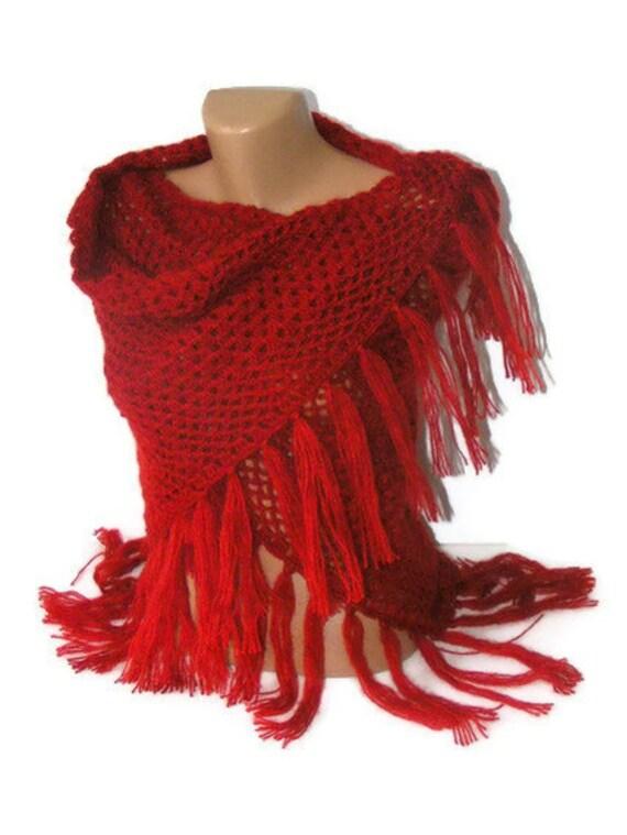 crochet shawl ,red ,women hand crocheted shawl, fashion ,crochet trends, gift ideas ,boho , stole, wrap
