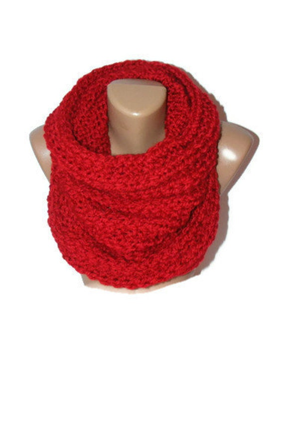 red cowl fashion winter trends,knitted cowl,Eternity Scarf,Oversized Ribbed,very SOFT,for her,gift ideas,warm,hooded scarf,by Seno