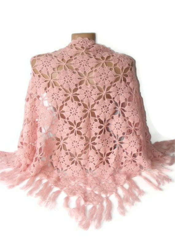 Crochet Pattern For Winter Shawl : Items similar to Crochet shawl pink shawl, Weddind Shawl ...