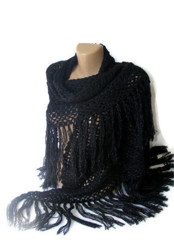 hand crocheted shawl,black shawl,winter,best mohair yarn,silver gilt rope crochet,fashion gift for her,Valentine's Day gift
