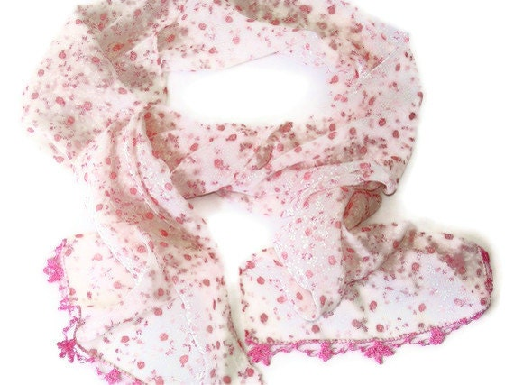 2012 fashion scarf,floral,pink scarf,woman scarves,summer trends,new,chic,chiffon scarf,handmade lace,oya,gift ideas,for her