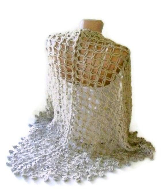 shawl ,women crocheted shawl , beige shawl ,Wrap ,Stole ,Shrug
