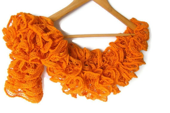 WAS 25 NOW 19  orange scarf,women knit scarf,ruffle scarf,soft,all seasons,2012 trends,gift for HER,fashion accessories,orange scarf,by Seno